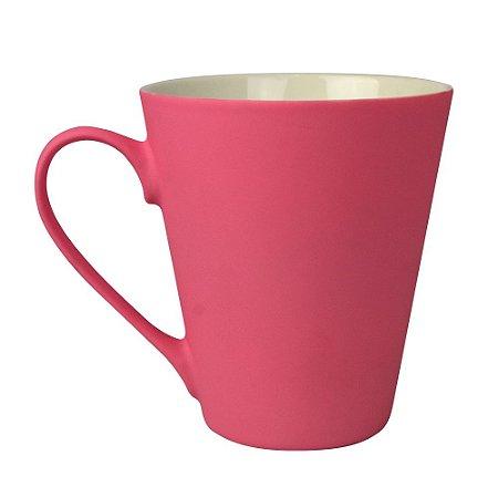 Caneca Soft Touch em Cerâmica Rosa