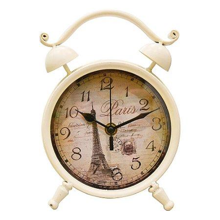 Relógio Retrô Branco em Metal