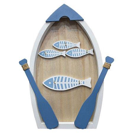 Enfeite Canoa com Peixes em Madeira