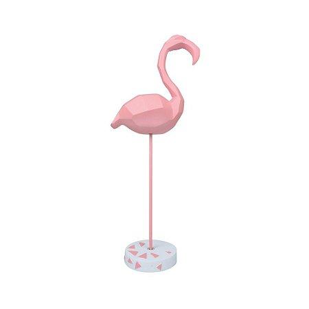 Enfeite Flamingo Geométrico Médio em Resina