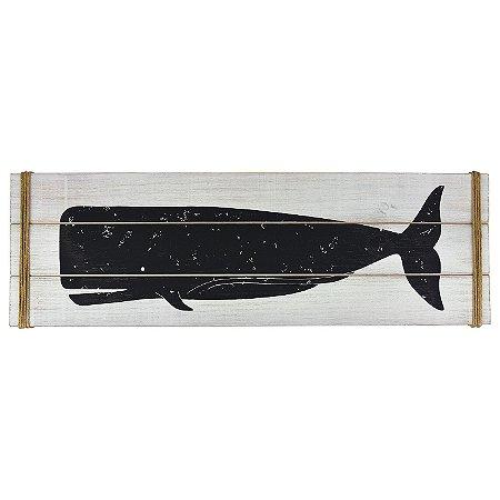 Quadro Baleia em Madeira Branco