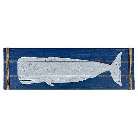 Quadro Baleia em Madeira Azul
