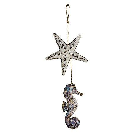 Enfeite Estrela e Cavalo Marinho Azul