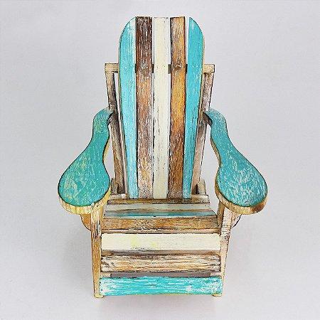 Cadeira Decorativa de Praia Verde em Madeira
