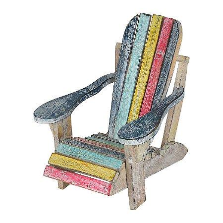 Cadeira Decorativa de Praia Colorida em Madeira