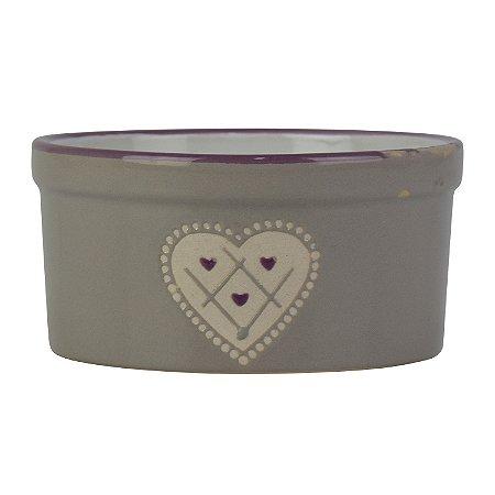 Potinho Cinza de Coração em Cerâmica