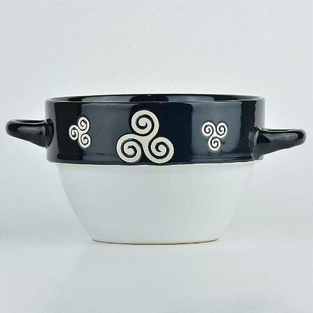 Tigela Arabesco Branco em Cerâmica