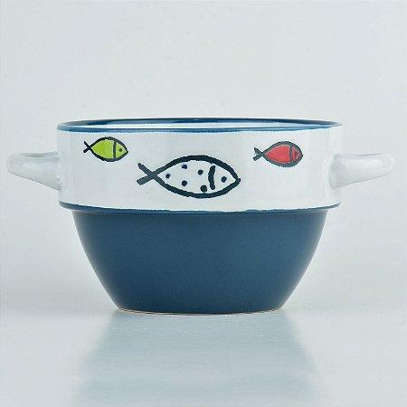 Tigela Azul Peixe em Cerâmica