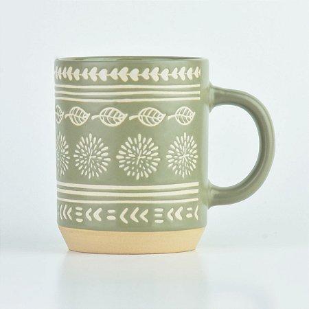 Caneca Folhas em Cerâmica