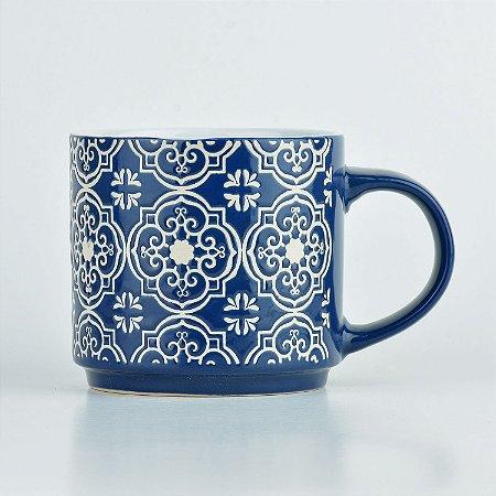 Caneca Azul Mandala em Cerâmica