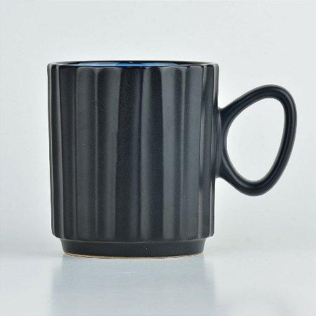 Caneca Black Azul em Cerâmica