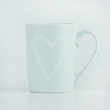 Caneca Branca Coração em Cerâmica