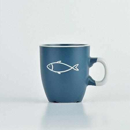 Caneca Oceano Azul Peixe P em Cerâmica