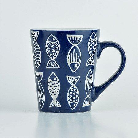 Caneca Azul Mar Peixe em Cerâmica