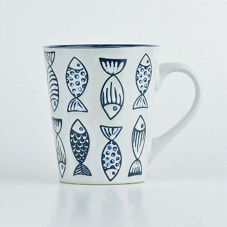 Caneca Branca Mar Peixe em Cerâmica