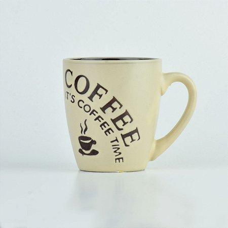 Caneca Coffe Time Bege em Cerâmica