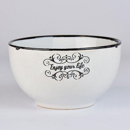 Bowl Your Life Branco em Cerâmica
