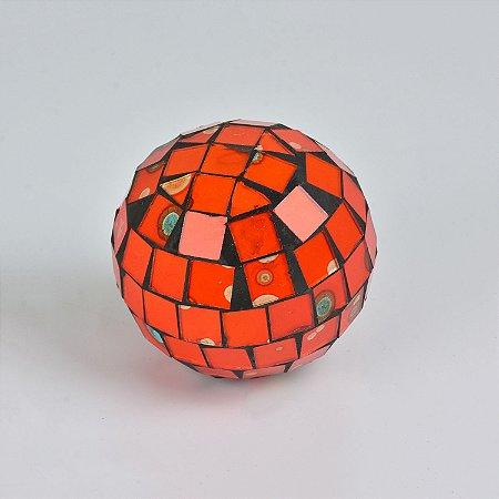Enfeite Bola Laranja Mosaico Pequena