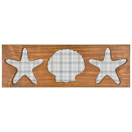 Quadro Estrelas e Concha com Grade Preta