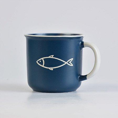 Caneca Grande Ocean Peixe Azul em Cerâmica