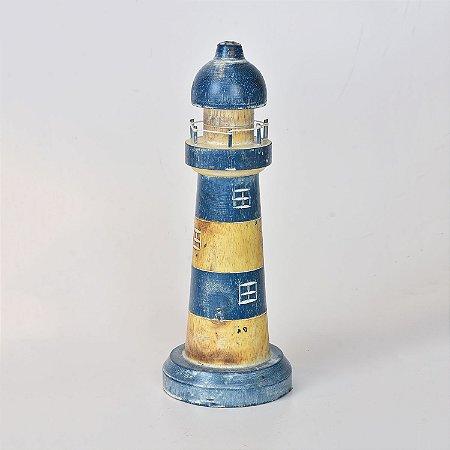 Farol Decorativo Azul Escuro 30 cm