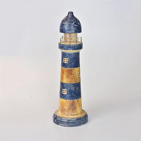 Farol Azul Escuro Decor 40 cm