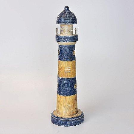 Farol Azul Escuro Decor 50 cm