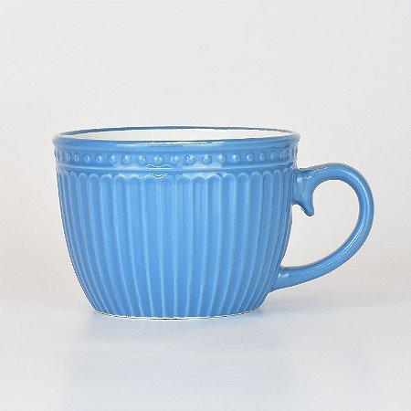 Caneca Retro Azul com Branco
