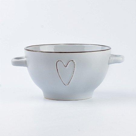 Bowl Coração Cinza Claro em Cerâmica