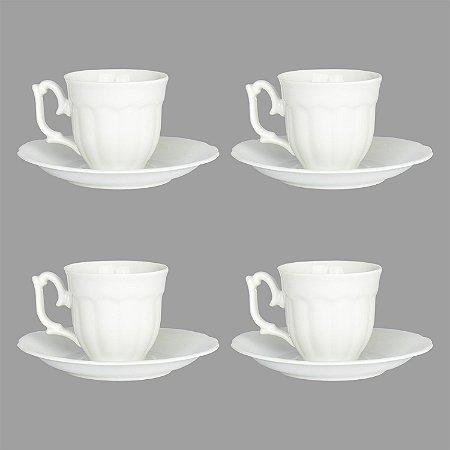 Jogo com 4 Xícaras Charming Brancas de Porcelana