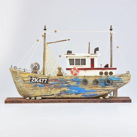 Barco Envelhecido com Led Azul M