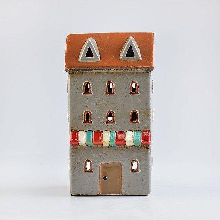 Porta Velas Casa Cinza em Cerâmica