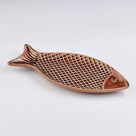 Petisqueira Peixe Marrom em Cerâmica