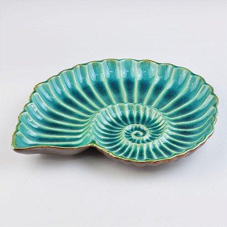 Petisqueira Concha Redonda Azul em Cerâmica