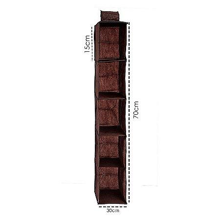 Organizador Closet Multiuso 3un Vertical Marrom Tnt 30x70cm
