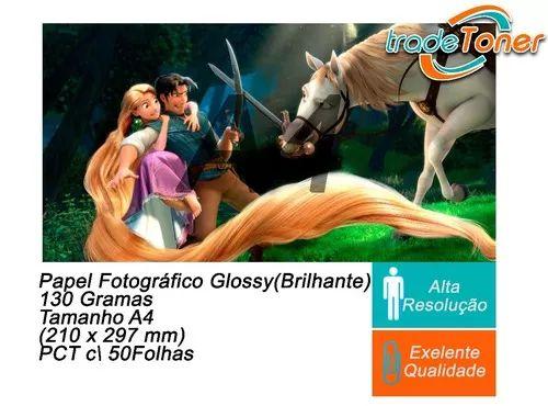 Pct Com 50 Folhas A4 Papel Fotografico Glossy Brilhante 130g
