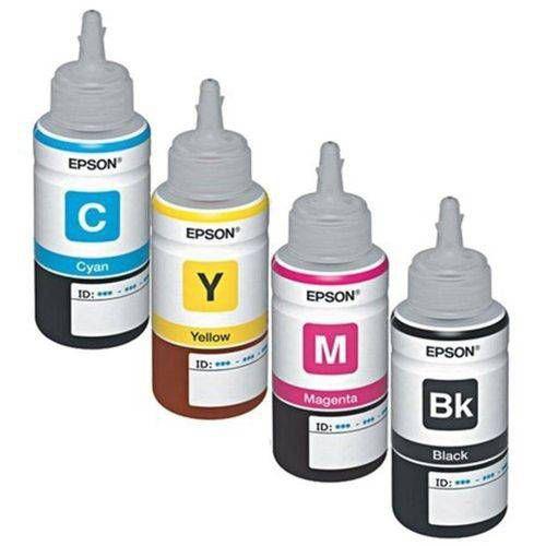 Kit Refil Tinta com 04 Cores Original Epson 664 P/ L380 L200 L210 L355 L365 L395 L455 K M Y C 70ml