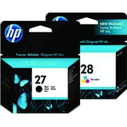 Kit 2 un Cartucho Original Hp 28 hp28 Color C8728ab +  Hp 27 hp27 Color C8727ab Black