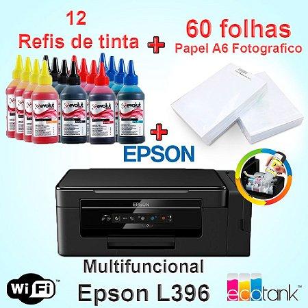 Multifuncional Epson  L396 wi-fi  c/ 12 Refis de Tinta + 60 Fls Papel Fotografico A4 +Nf