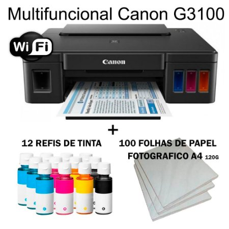 Multifuncional Canon Maxx Tinta G3100 Wi-fi c/ 12 Refis de Tinta + 100 Fls Papel Fotografico A4 +Nf
