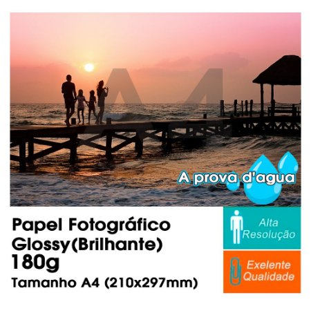 Pct Com 50 Folhas A4 Papel Fotografico À Prova D´água Glossy Brilhante 180g