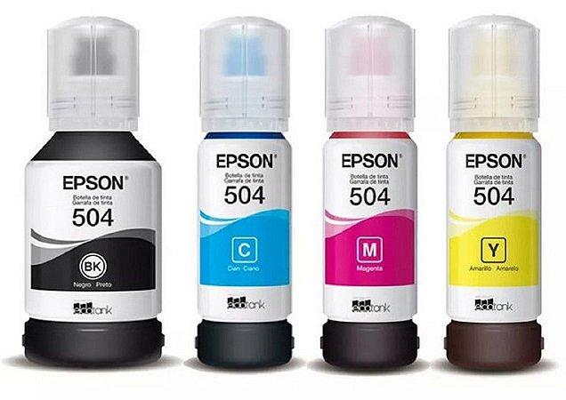 Kit Refil Tinta com 04 Cores Epson L6161 L4150 L4160 L6191 L6171 T504 K M Y C