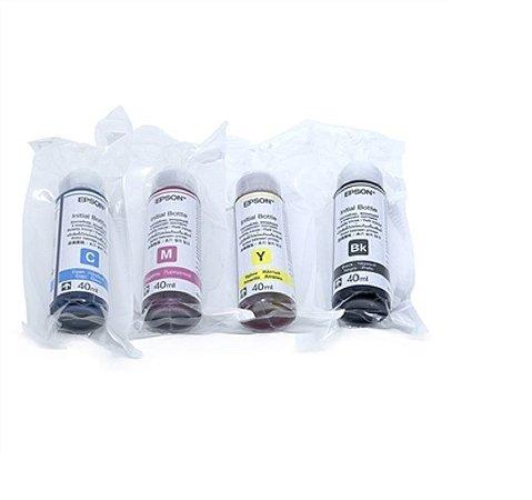 kit Refil Tinta com 4 Cores Original Epson T664 L380 L200 L210 L355 L365 L395 L455 L396 K M Y C 40ML