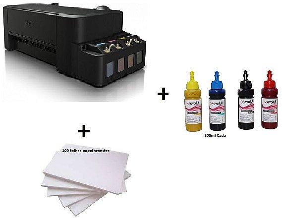 Impressora Sublimatica Epson EcoTank L120 c/ 4 Refis de Tinta 50ml + 100 Fls Papel Transfer