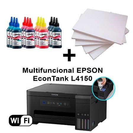 Multifuncional Epson  L4150 wi-fi  c/ 12 Refis de Tinta + 100 Fls Papel Fotografico A4 +Nf
