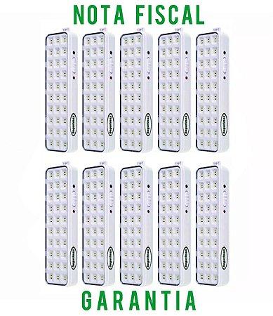 Kit 10 unLuminária Luz De Emergência 30 Leds Premium Segurimax Bivolt
