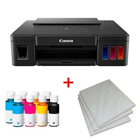 Impressora Canon Maxx Tinta G1100 c/ 8 Refis de Tinta + 100 Fls Papel Fotografico A4 +Nf