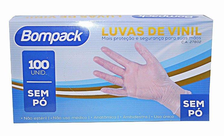 Luva Vinil Sem Pó Transparente Tam P C/100 Und BomPack