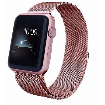 Pulseira Milanese Para Apple Watch 42mm - Rose