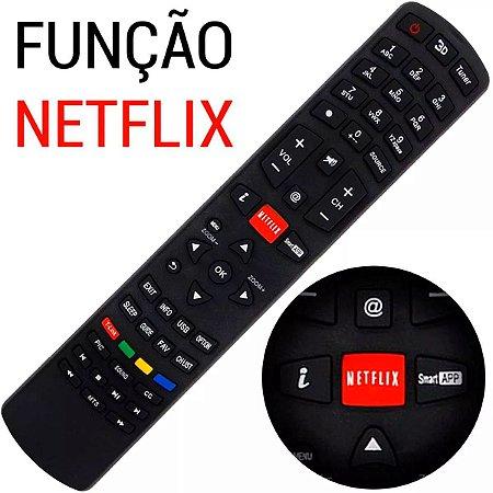 Controle Philco Remoto Smart Tv Led Lcd 3d | Rc3100l03 Função Netflix Ph58e Ph55m Ph46m Ph39f com Pilhas